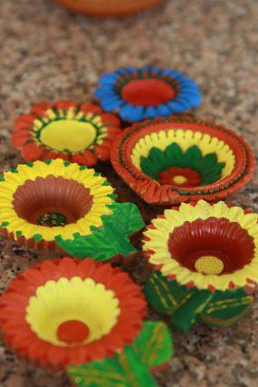Happy Diwali - colorful diye