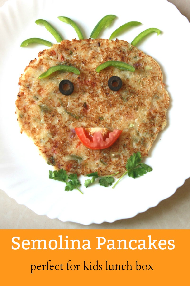 Suji Uttapam - Semolina Pancakes, healthy, vegetarian, breakfast, kids school lunch box, snack