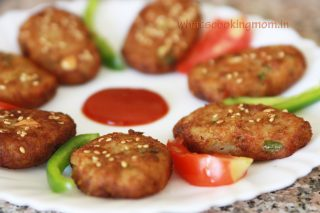 Nutty Sweet potato cutlets coated with sesame seeds