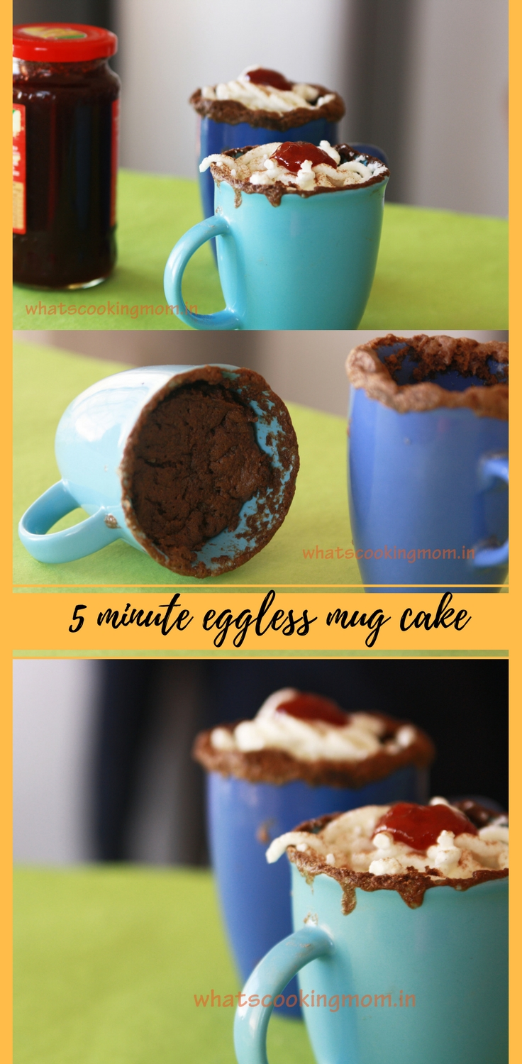 5 minute eggless chocolate mug cake #eggless #mugcake #dessert #sweets #easyrecipes