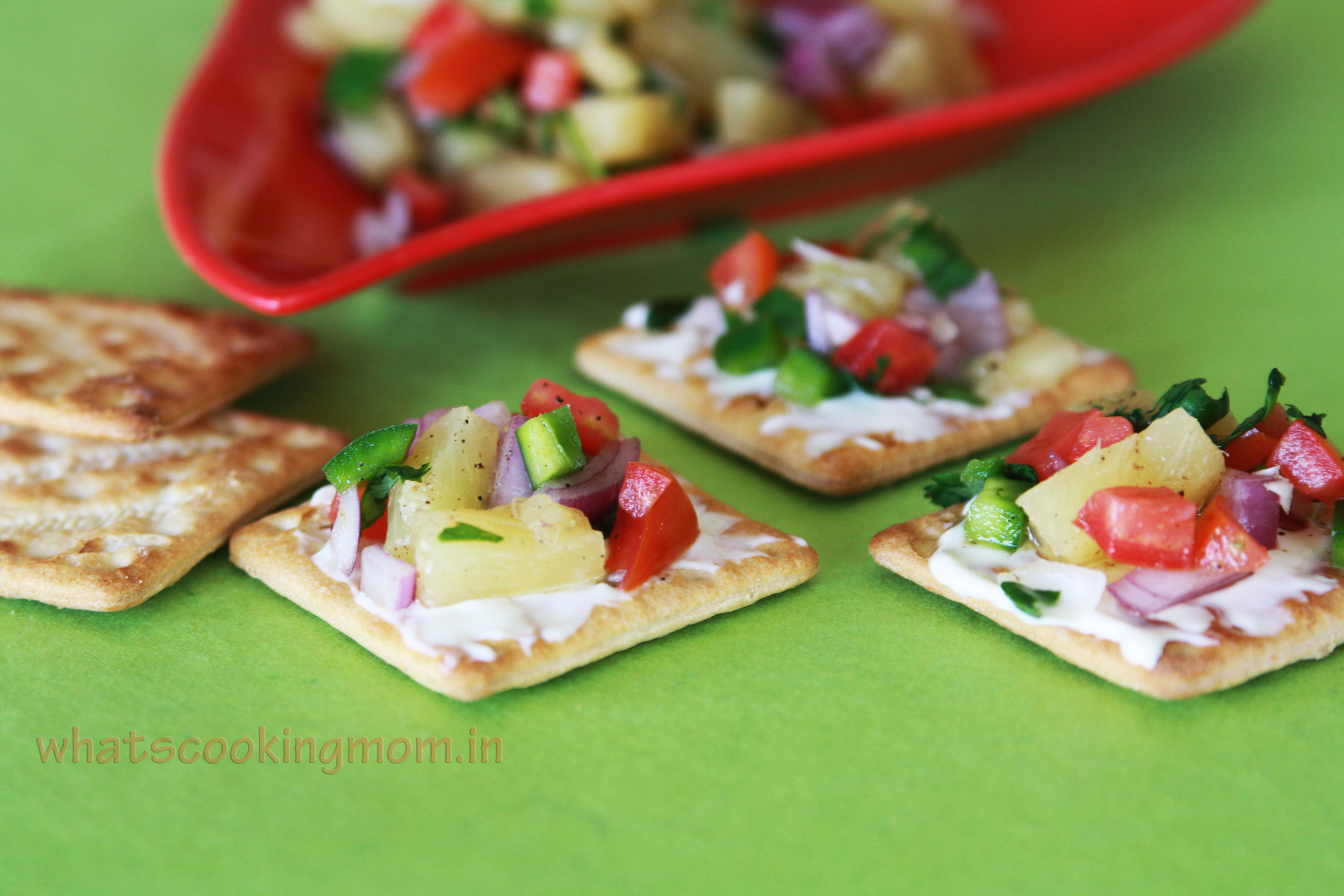 Pineapple salsa canapes whats cooking mom for How to make a canape