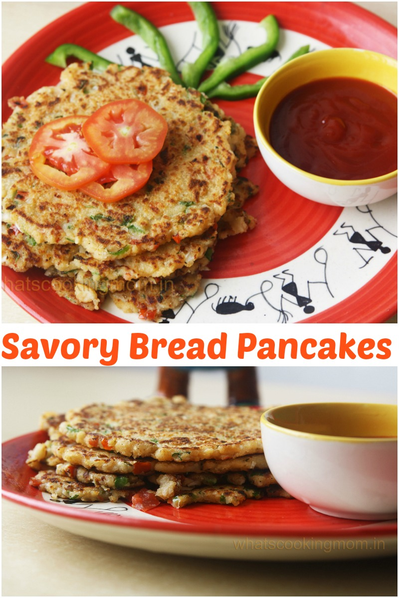 Bread uttapam - savory bread pancakes, vegeterian, breakfast, kids lunch box, snacks