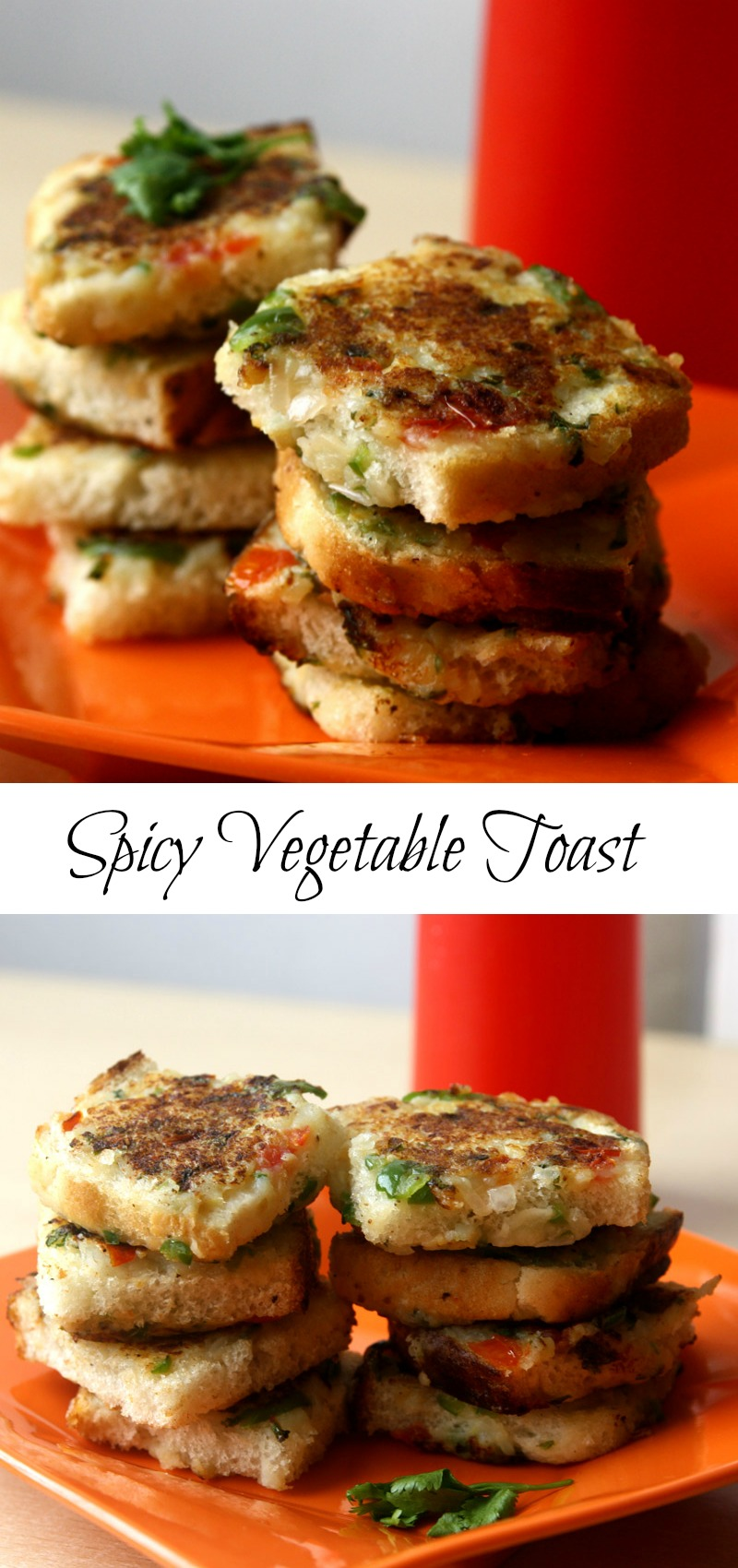 spicy vegetable toast - perfect for breakfast, kids school lunch box, tea time snack. Healthy vegetarian kid friendly recipe. #breakfast #vegetarian #schoollunchbox #tiffinrecipe #vegetables #healthy #healthychoice