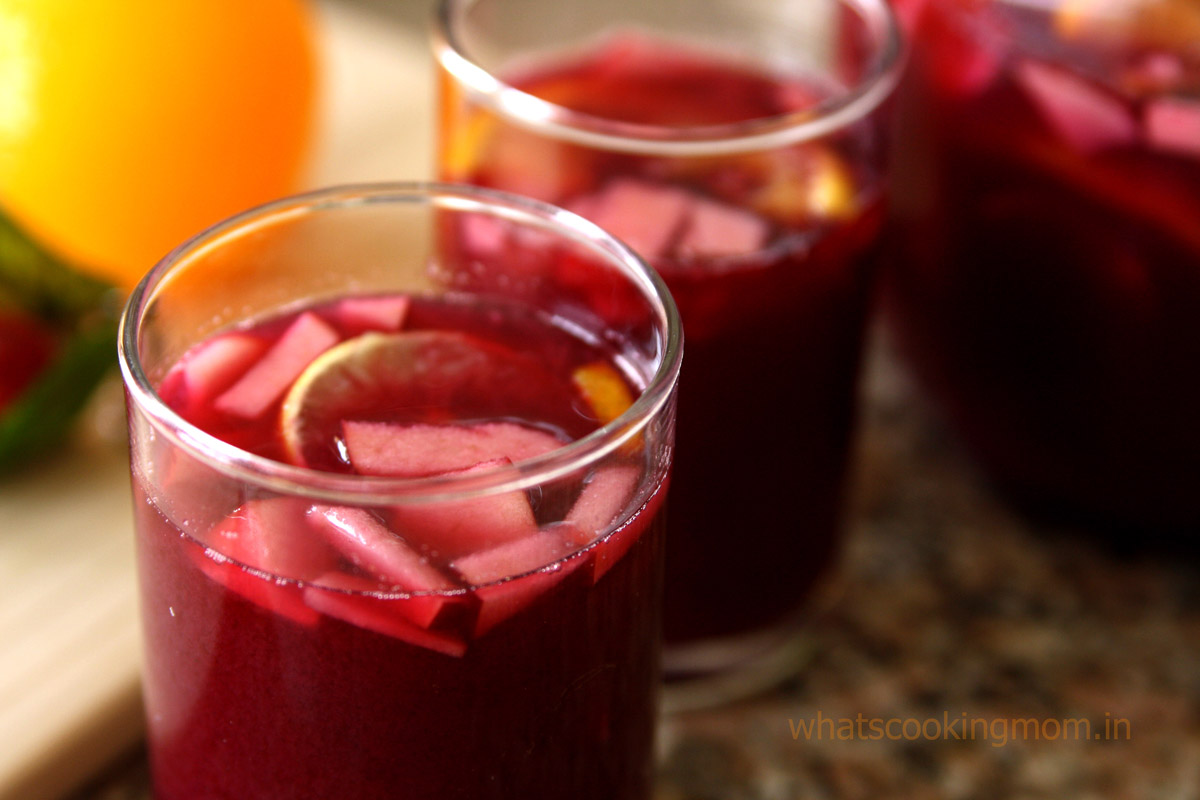 Virgin Sangria - healthy mocktail made with fruit juices.