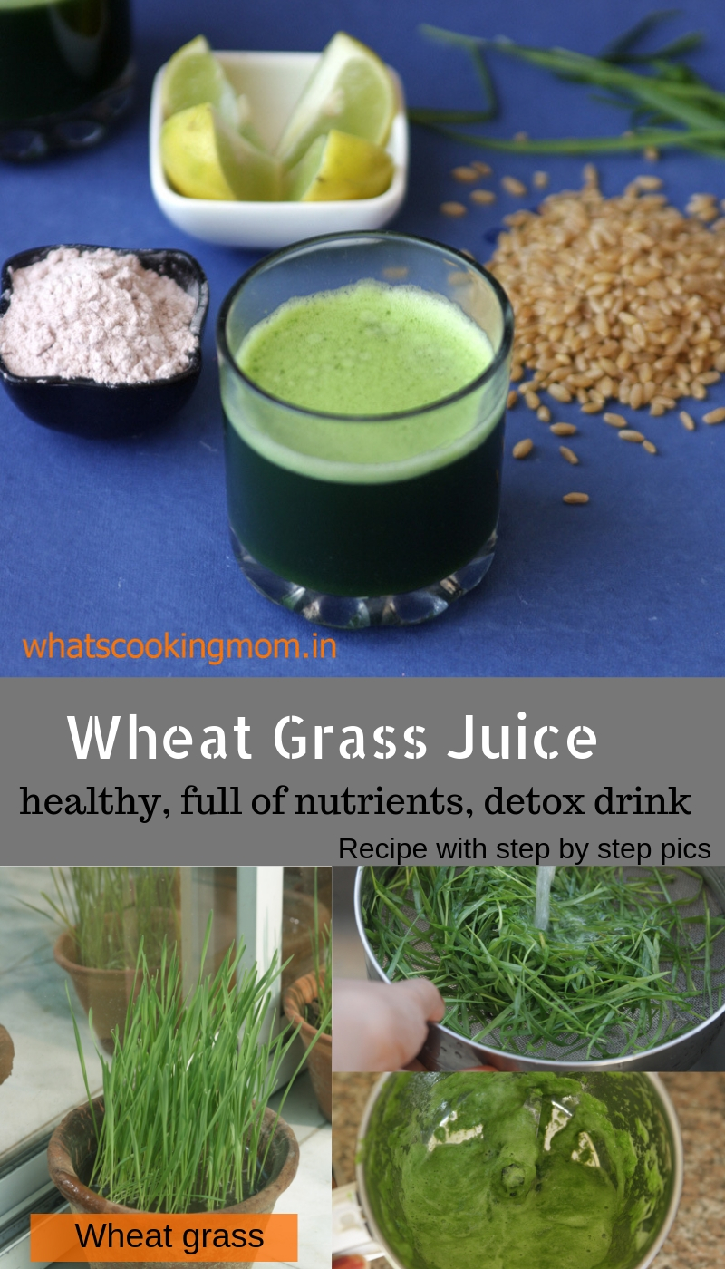 wheat grass juice - a very healthy nutritious detox drink full of antioxidants. Recipe with step by step pics