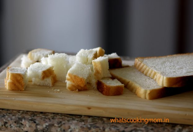 cut bread slices for croutons