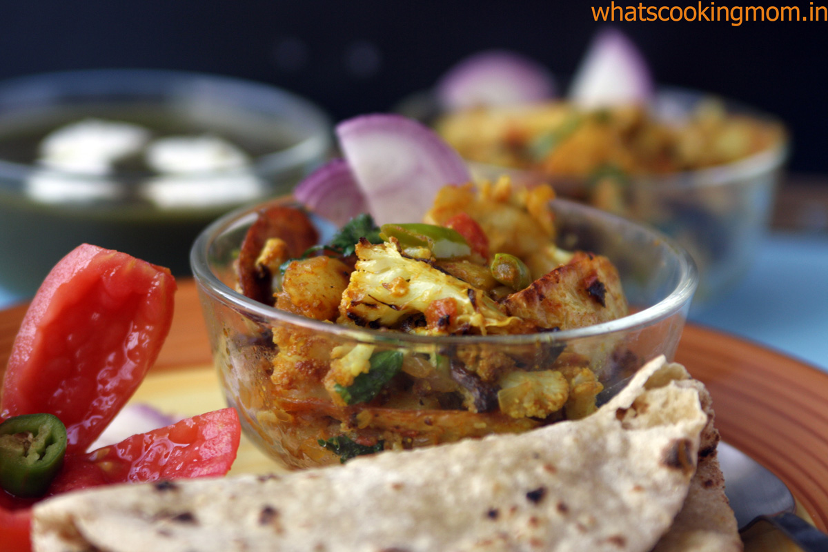 Roasted aloo gobi - A healthier version of fried aloo gobi | whatscookingmom.in