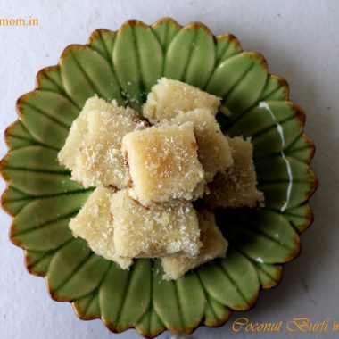 Coconut Burfi with Gulkand