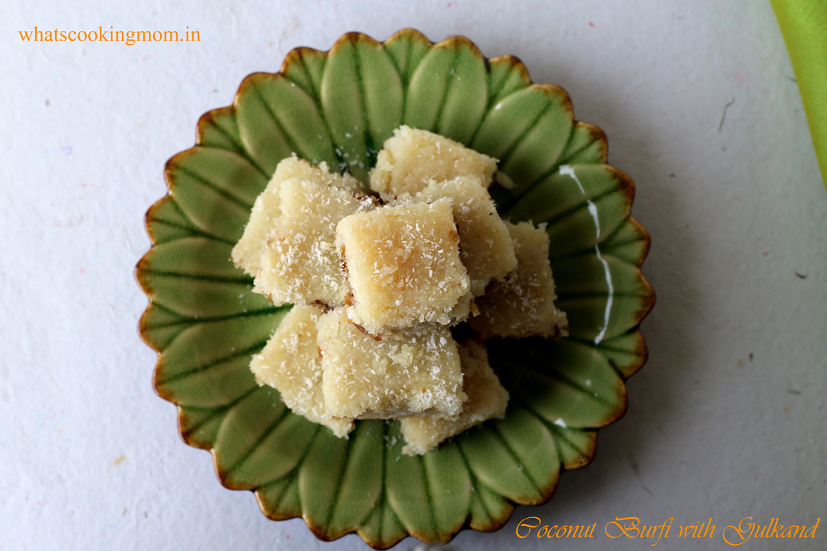 Coconut burfi with gulkand 1