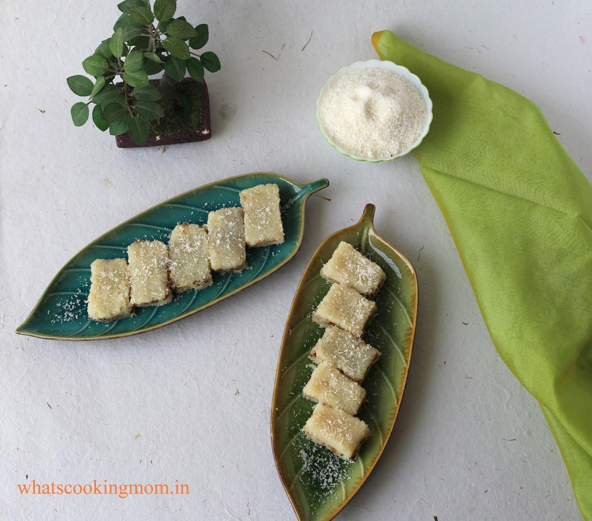 Coconut burfi with gulkand 5