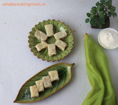 Coconut burfi with gulkand 7