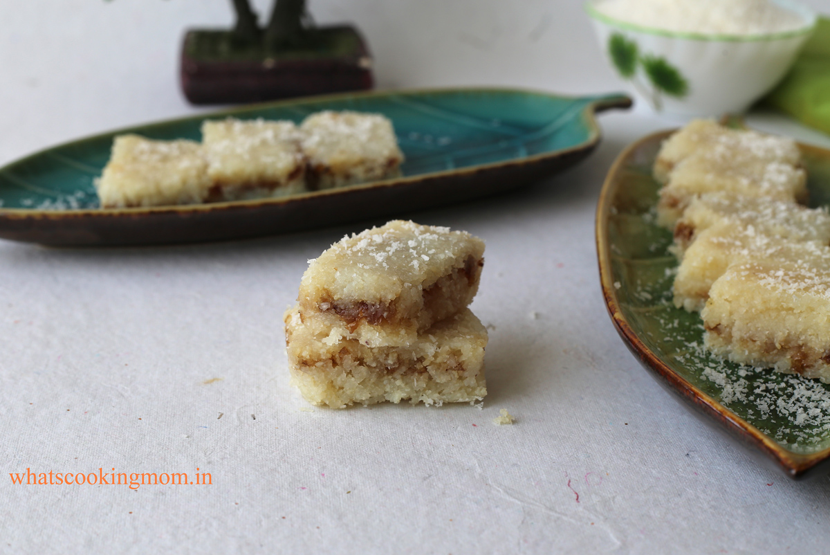 Coconut Burfi with Gulkand - yummy , meli in your mouth #sweet made with #coconut milk #gulkand #indiansweet #eggless