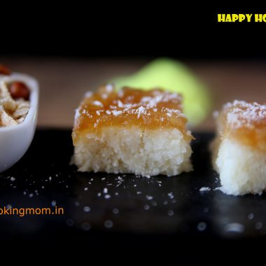 Nariyal burfi with apple pie filling