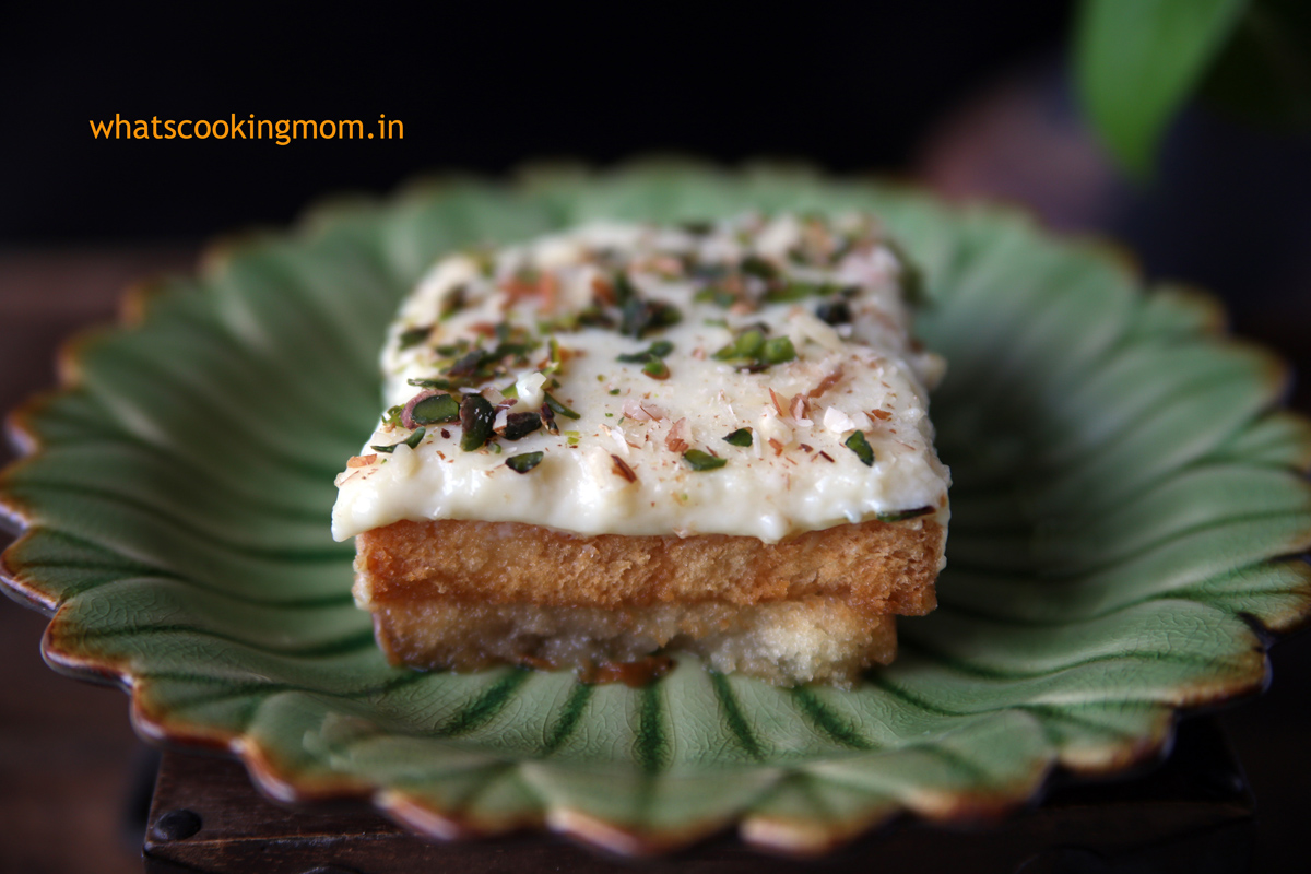 Aish el Saraya- mediterranean dessert. made with rusk, sugar syrup and custard pudding | whatscookingmom.in