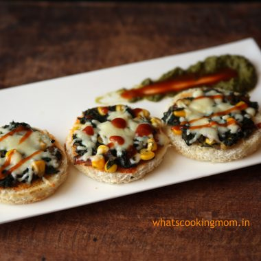 Spinach corn toast- breakfast, snack, appetizer, vegetarian, kids lunch box, tiffin ideas