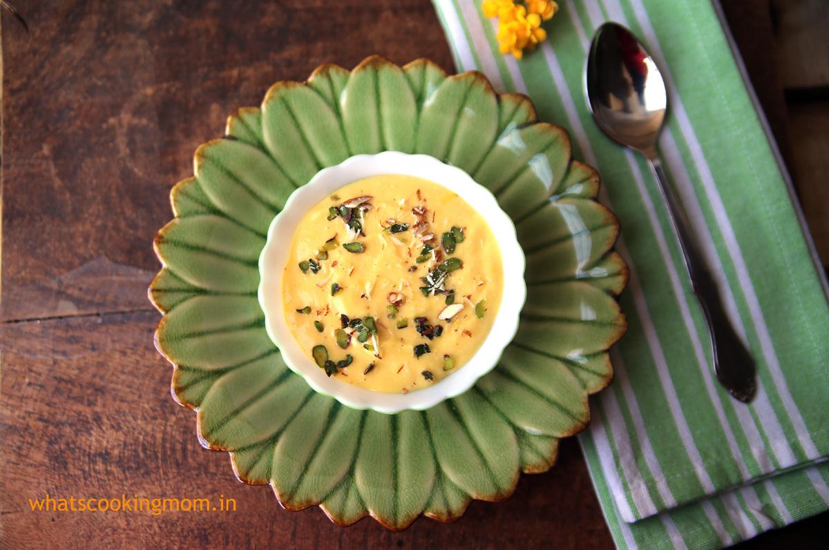 Mango shrekhand/amrakhand - A yummy blending of mango with yoghurt  whatscookingmom.in