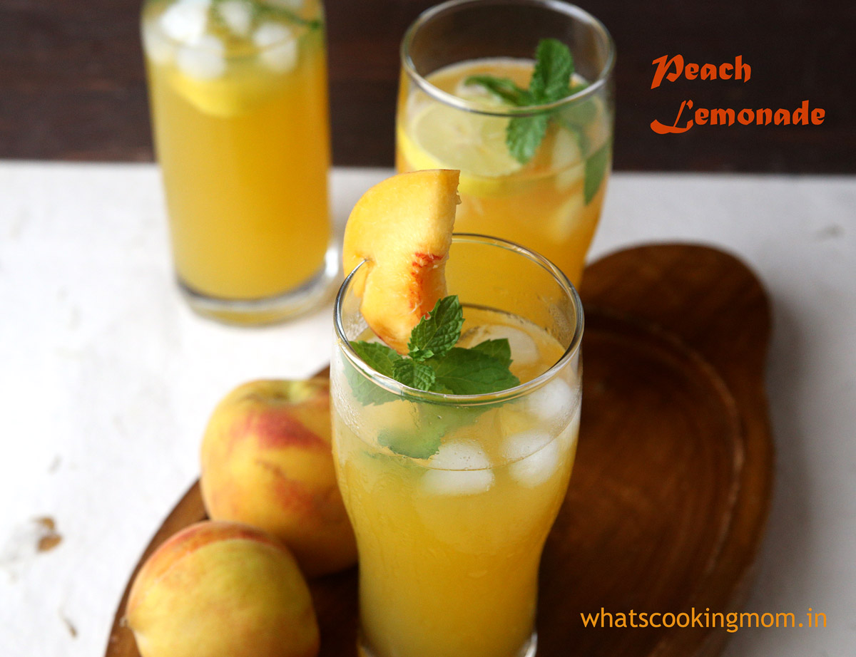 Peach lemonade - refreshing fruity healthy lemonade. #summers #drink #nonalcoholic #peach #lemonade #fruit