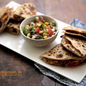Bean Quesadilla - vegetarian rajma quesadilla, protein rich, vegetarian, kid friendly, snack