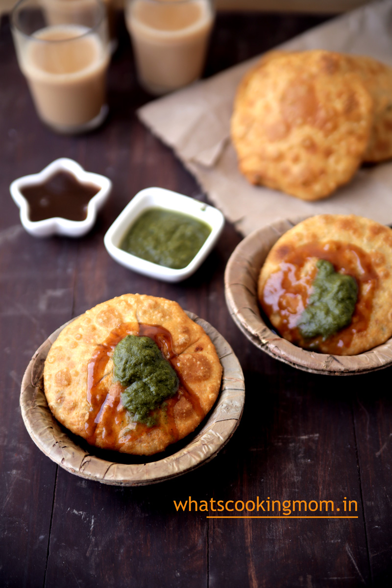 Aloo pyaz kachori - famous fried snack from rajasthan, breakfast, teatime snack, vegetarian