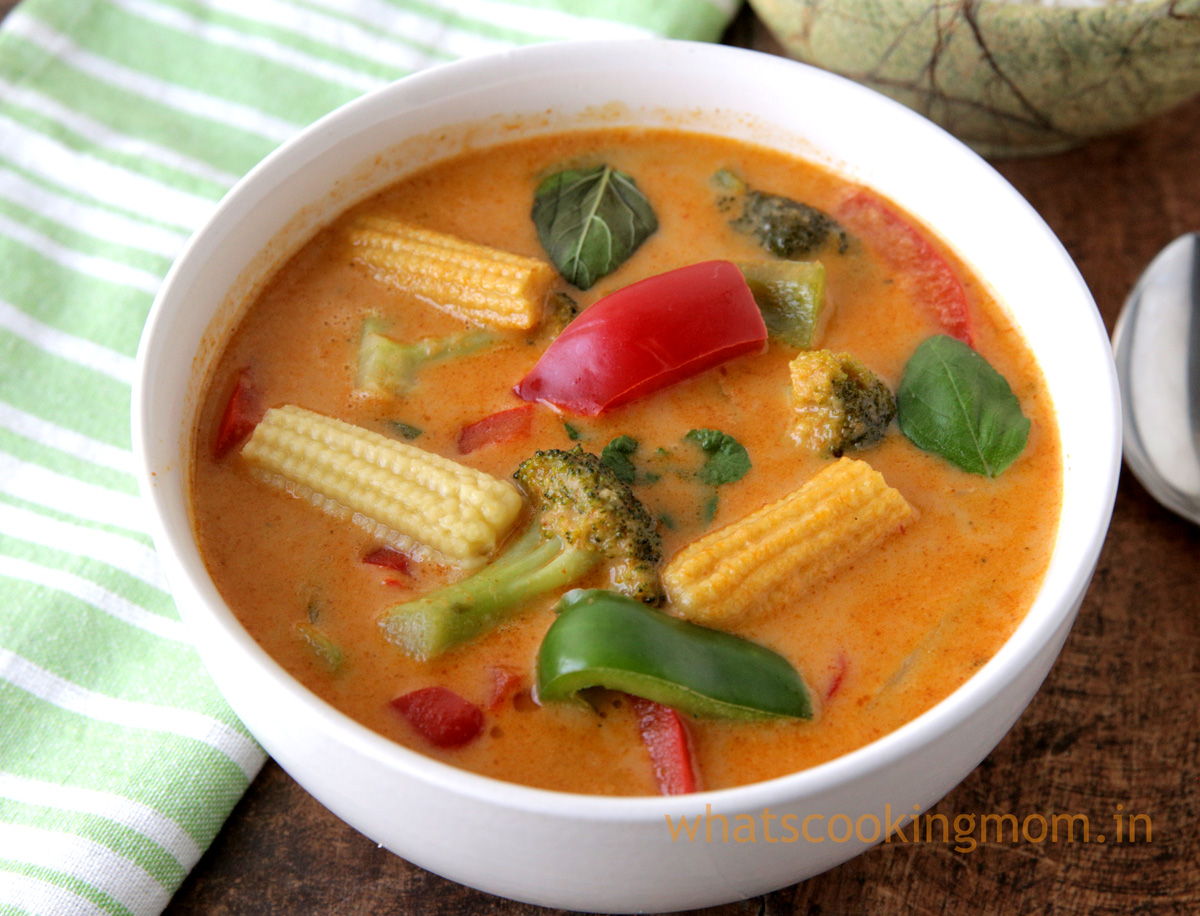 Veg Thai Red Curry recipe with step by step pics