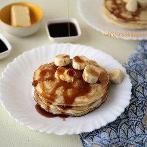 Eggless pancakes recipe - kids all time favourite, breakfast, easy recipe, with step by step pics