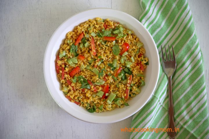 yellow moong Dal Salad #healthy #nutritious #salad loaded with #veggies makes a light #snack or #lunch