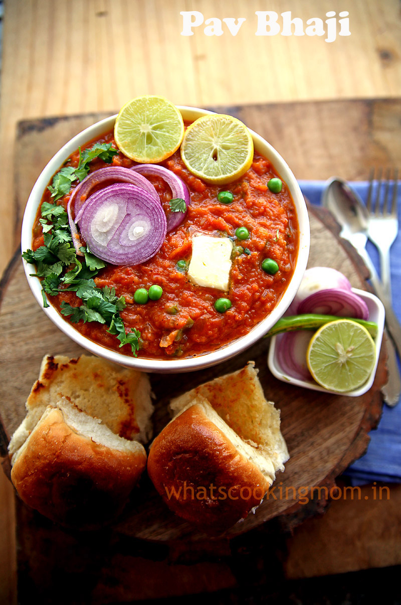 Pav Bhaji - Vegetarian Indian Street food from Mumbai made with mixed vegetables and potatoes.