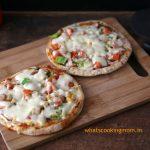 Roti Pizza -Pizza made with roti/ chapati. Healthier option, vegetarian, kid friendly snack.